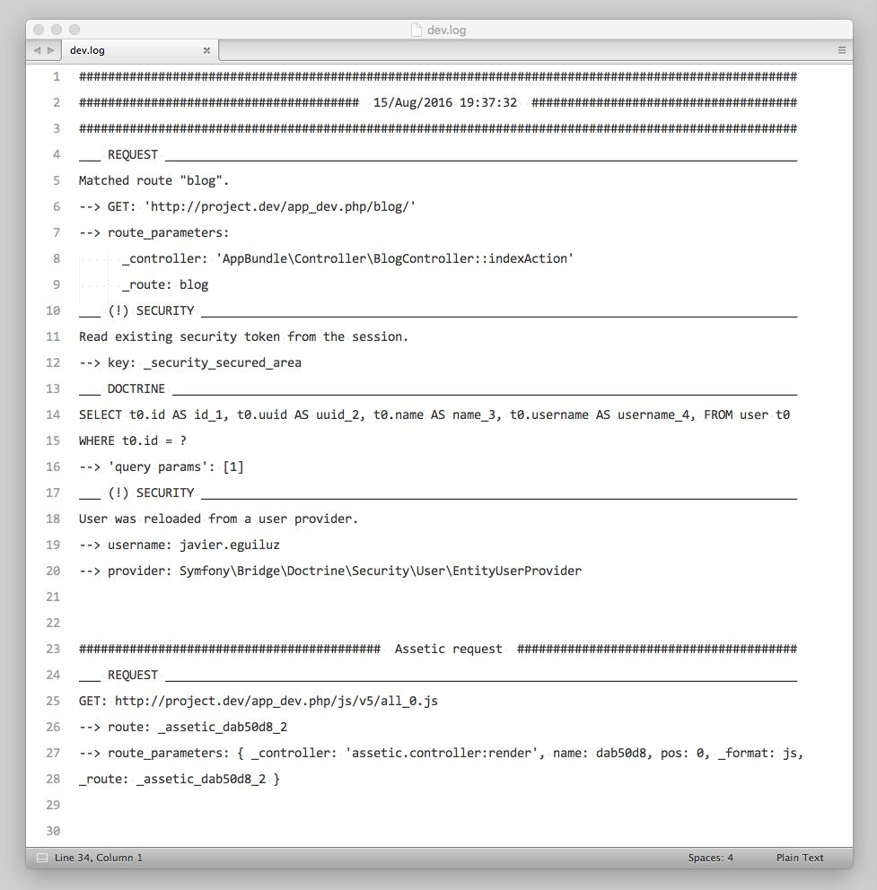 Archivo de log en una aplicación Symfony que utiliza EasyLogHandler
