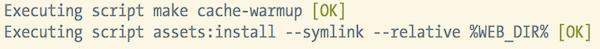 Scripts ejecutados por Symfony