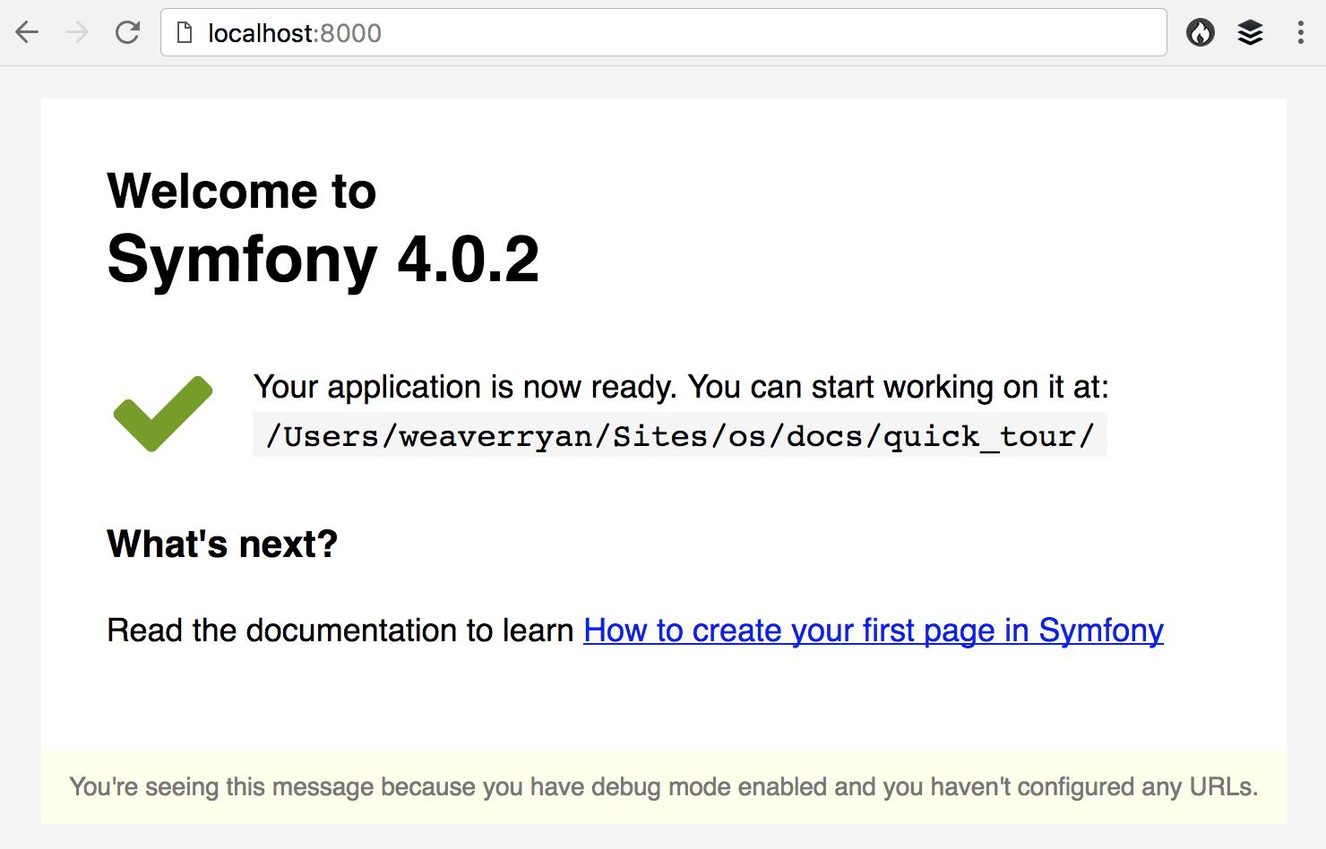 La página de bienvenida en Symfony 4.3 y las versiones anteriores