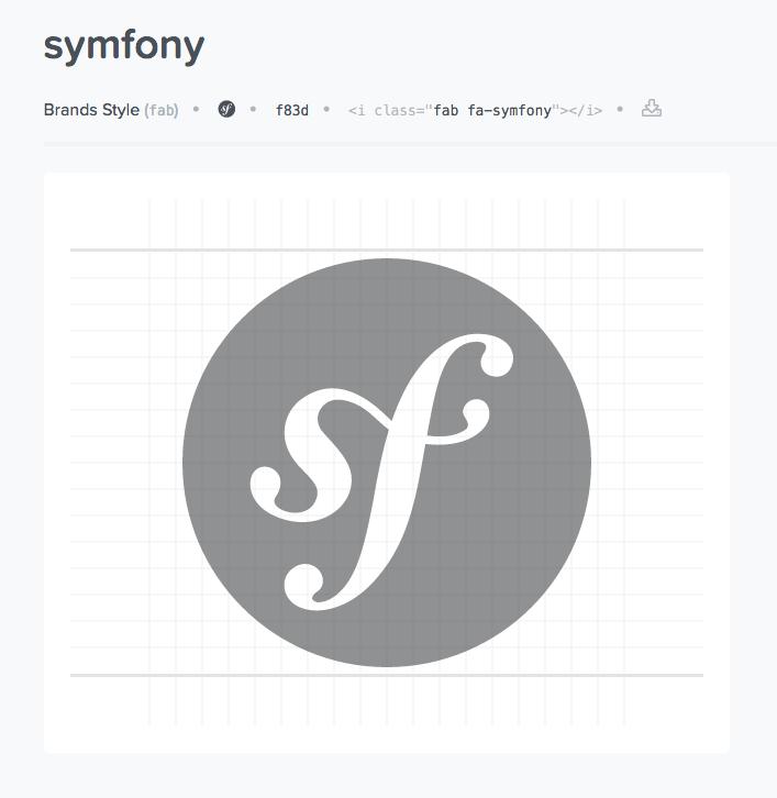 Nuevo icono de Symfony en FontAwesome 5.8