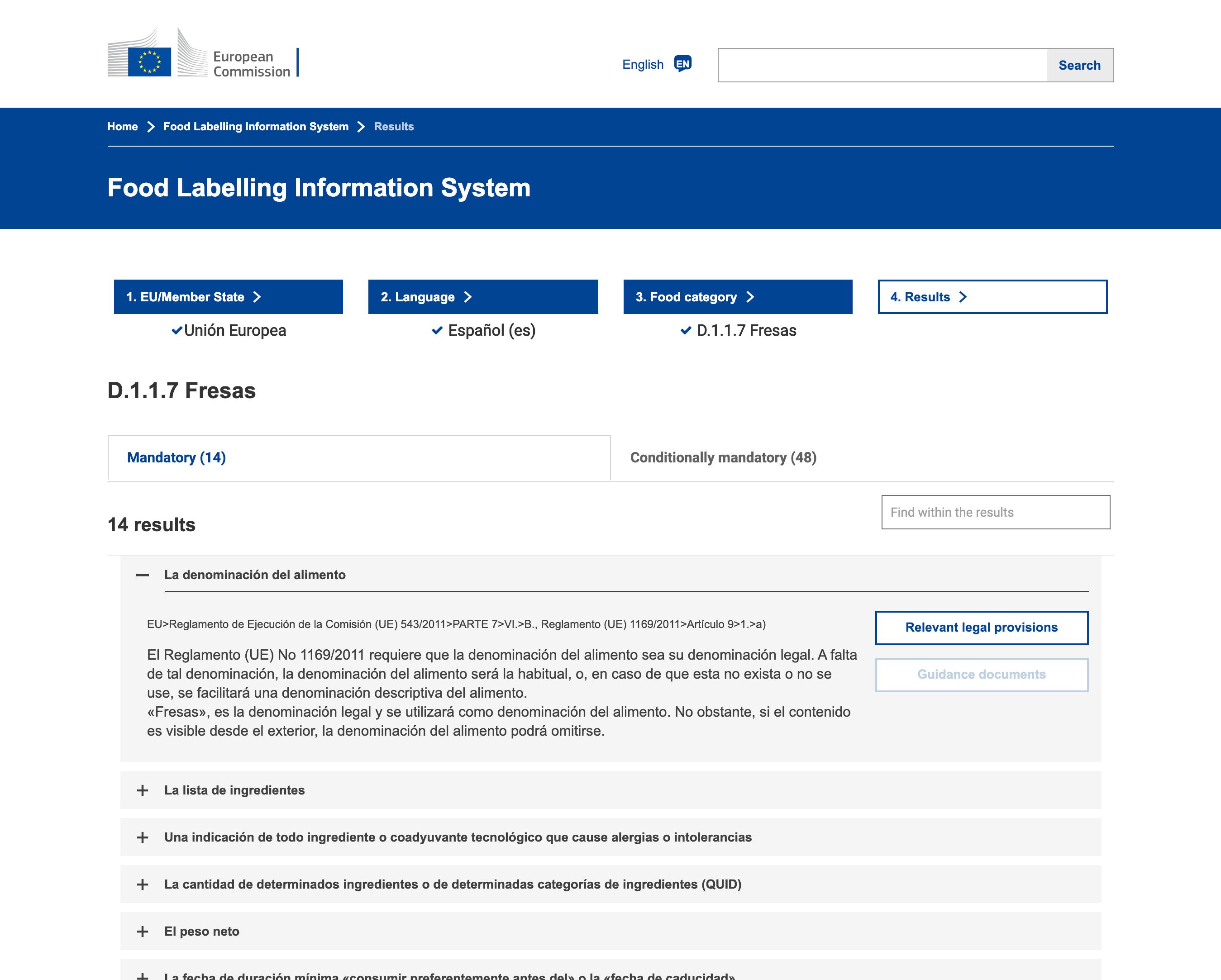 Sistema de Información sobre Etiquetado de Alimentos desarrollado por la Comisión Europea usando Symfony